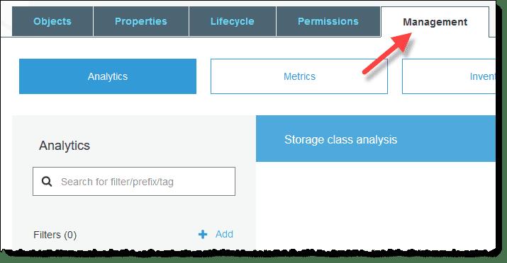 Reduire facture S3 AWS, Allez dans Management Tab