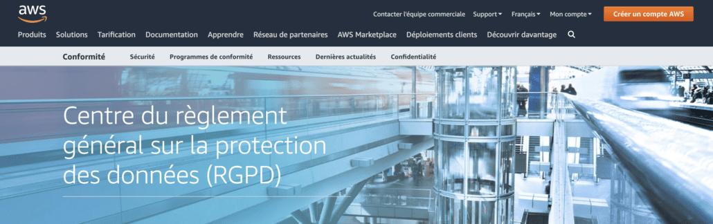 AWS centre reglement general protection données rgpd